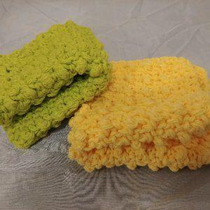 100% Cotton Washcloths, New, Set of 2, Textured